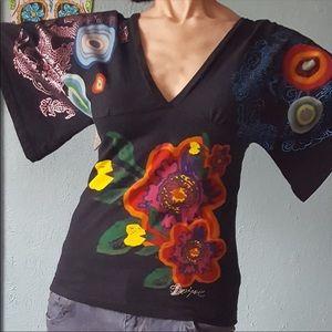 L Desigual kimono style knit top wide floral
